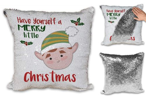 Merry Little Christmas Boy Elf Novelty Sequin Reveal Magic Cushion Cover